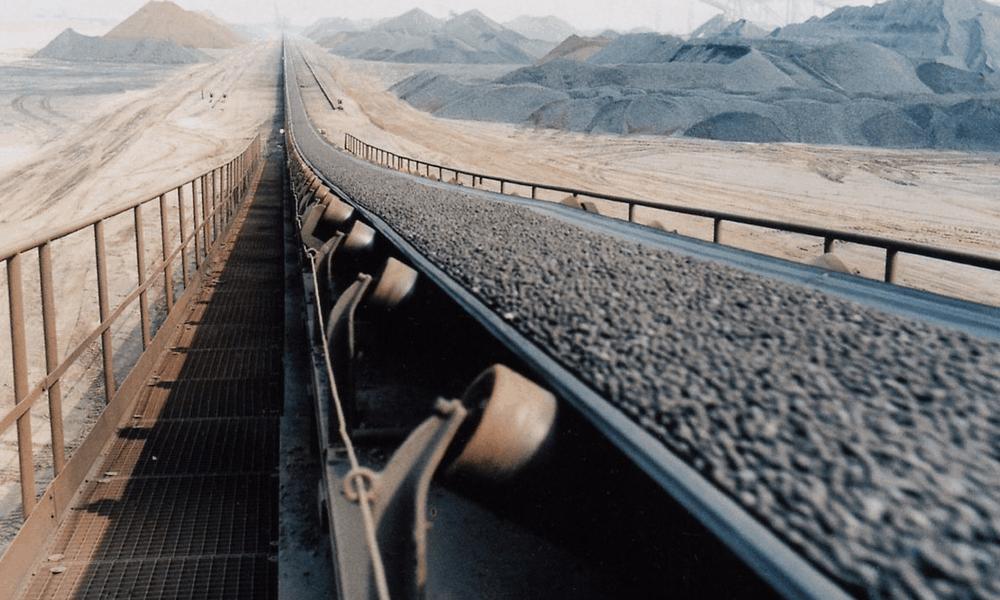 Conveyor belt carrying minerals