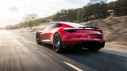 New Tesla Roadster Electric Sports Car, rear