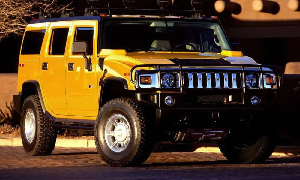 Yellow Hummer H2 SUV