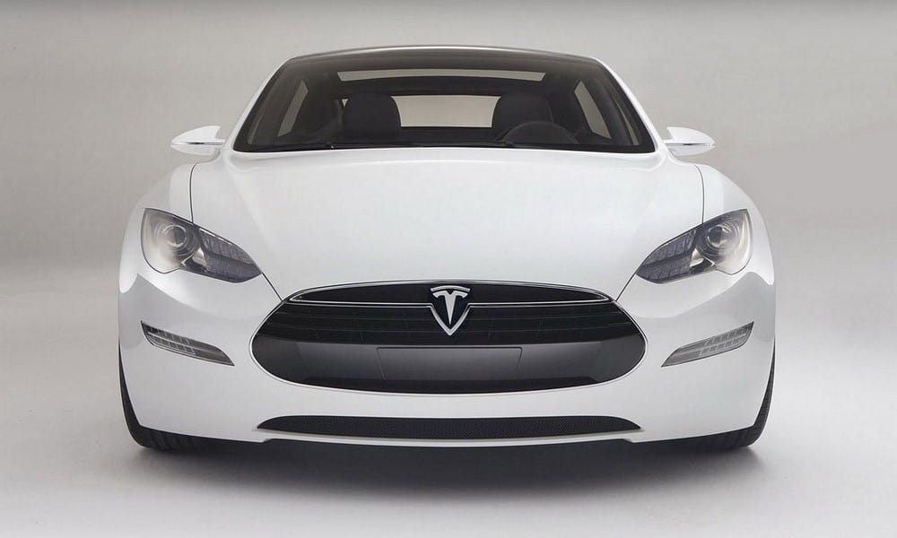 White Tesla Model S, front end