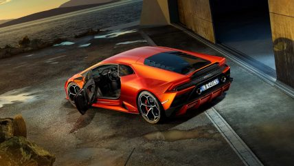 New Lamborghini Huracan Evo supercar, door open