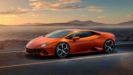 New Lamborghini Huracan Evo supercar, driving