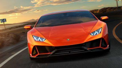 New Lamborghini Huracan Evo supercar, front
