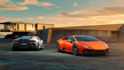 New Lamborghini Huracan Evo supercar, orange silver