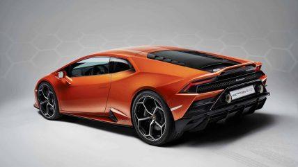 New Lamborghini Huracan Evo supercar, rear angle