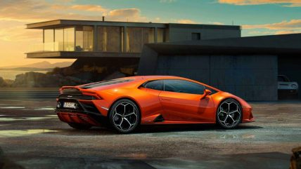 New Lamborghini Huracan Evo supercar, rear side