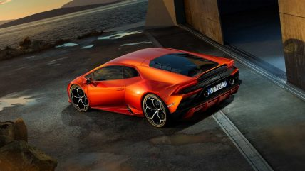 New Lamborghini Huracan Evo supercar, rear top