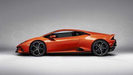 New Lamborghini Huracan Evo supercar, side
