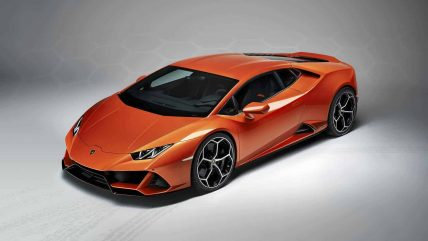 New Lamborghini Huracan Evo supercar, top angle