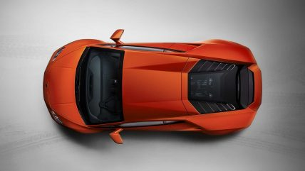 New Lamborghini Huracan Evo supercar, top view