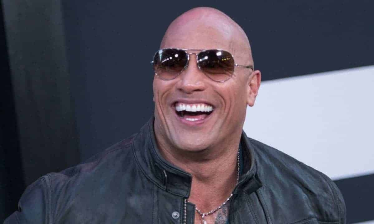 Dwayne Johnson with shaved head