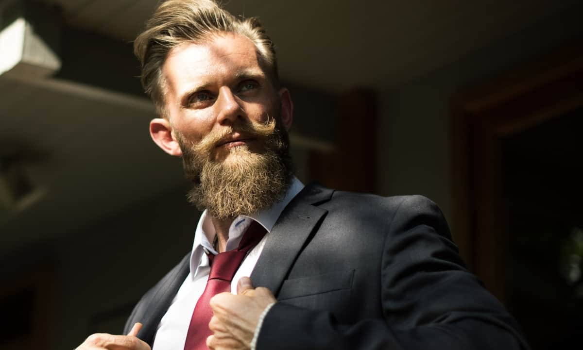 Confident Bearded Man Wearing Suit