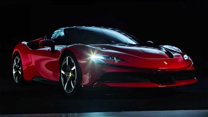 Ferrari SF90 Stradale hybrid supercar, dark