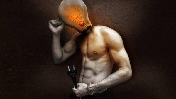 Man with light bulb head