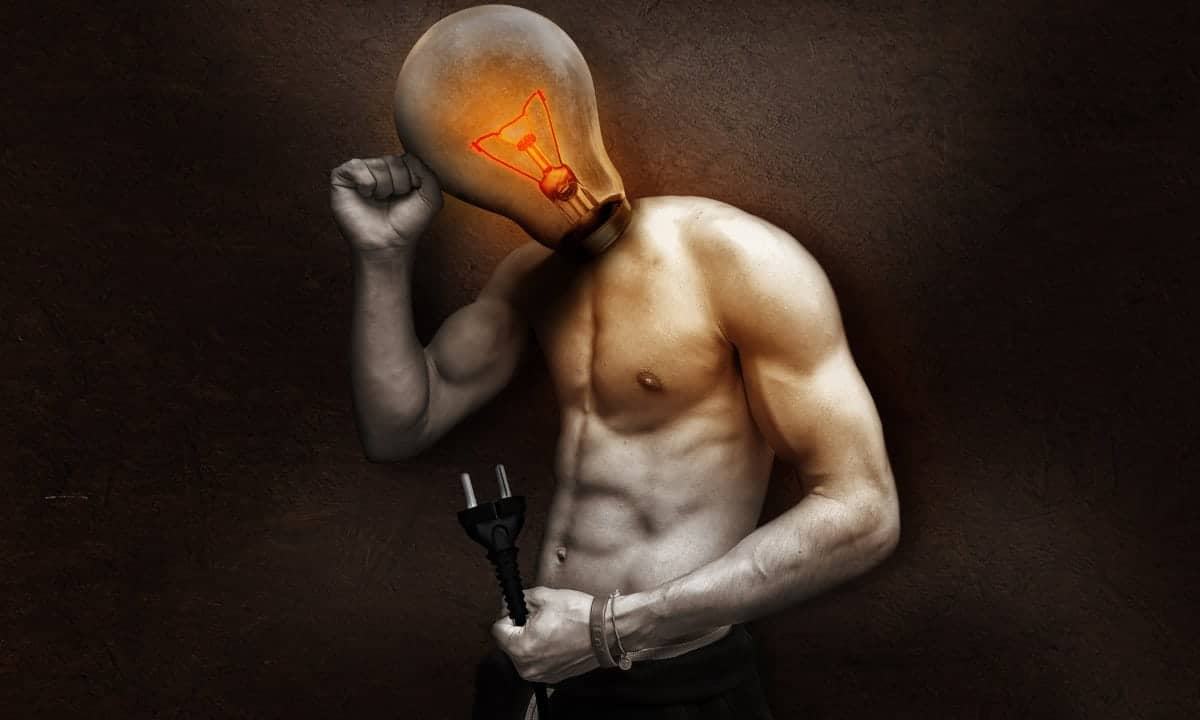 Man with light bulb head