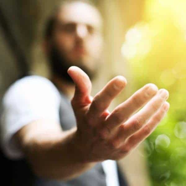 Self-Actualization Examples, man with hand out