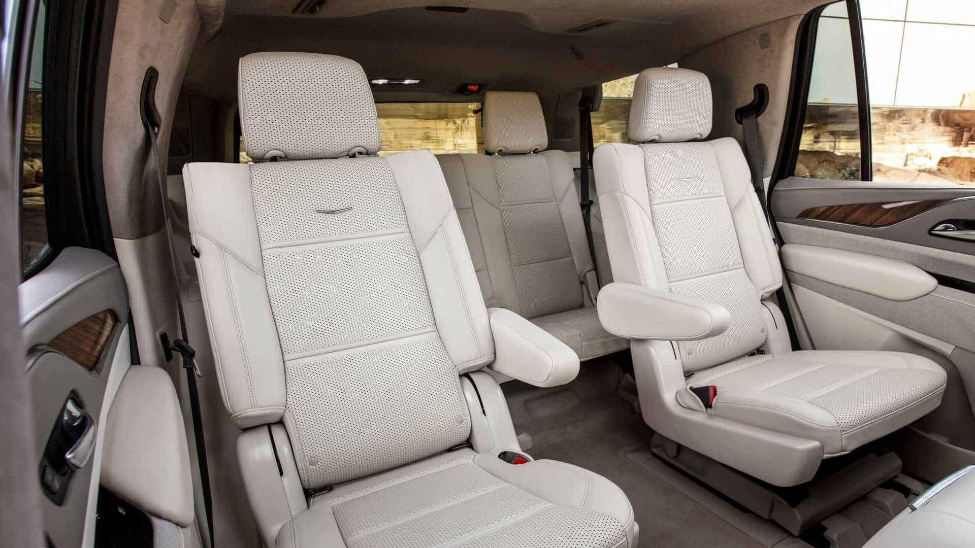 New, 2021 Cadillac Escalade Luxury SUV back seats